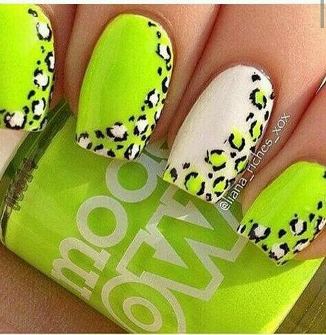 Neon Green Leopard Nails