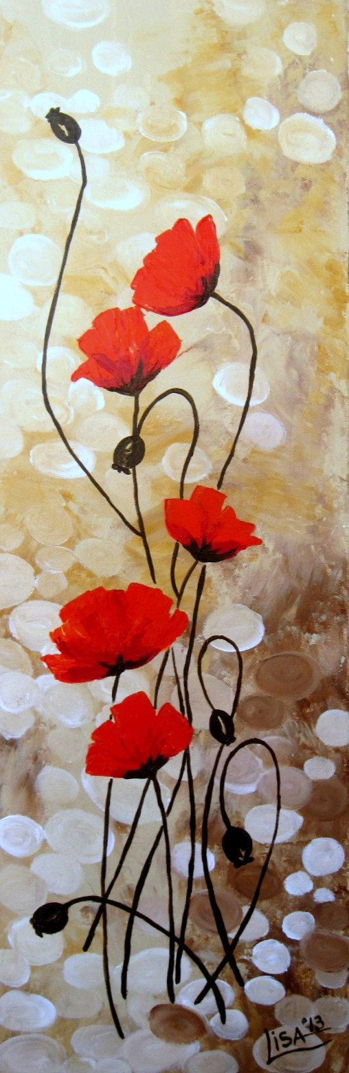 Original Acrylic Painting - Red Poppies Flowers Fields Red Beige Brown Floral Abstract
