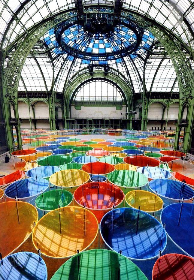 Daniel Buren - Excentrique(s)  2012   Site specific colorful installation for MONUMENTA 2012, Grand Palais, Paris #powerpatate #créativité