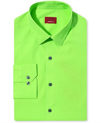 Alfani dress shirt slim fit spectrum neon shirt mens for Neon green shirts for men