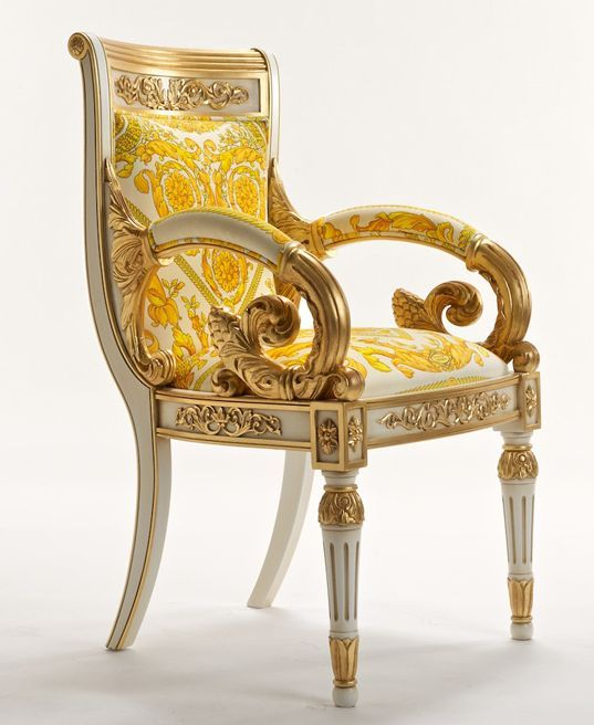 The luxurious Versace Vanitas chair. Versace Vanitas is a stylish chair that was designed by the late Gianni Versace in 1994. It's a very glamorous, stylish and opulent piece of furniture.