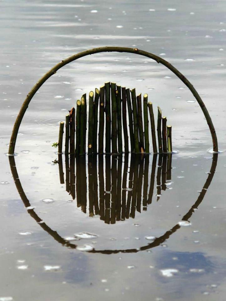 Mens en natuur creëren prachtige geometrische kunstwerken