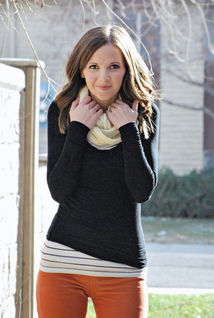Love the striped top underneath for layering a as opposed to a plain top.
