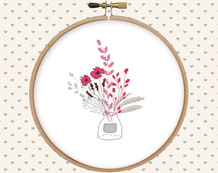 Bouquet cross stitch pattern pdf instant by GentleFeather on Etsy