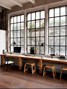 long desk with a window focus