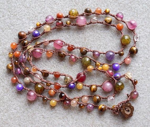 Purple pink boho crochet wrap bracelet, long necklace, boho chic, bohemian jewelry, mixed gemstones, jade, agate, coconut. $44.00, via Etsy.