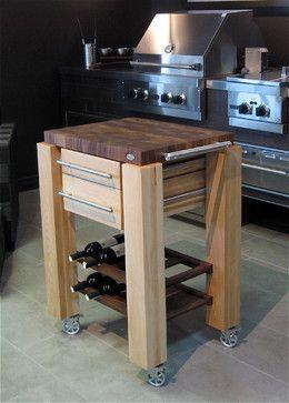 butcher block island with cradle wine rack