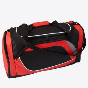 PromoBrand-Promotional sports holdall. This printed sports holdall is made from a high quality 600D polyester. Featuring a large main zipped compartment, a zipped side compartment, a special compartment to the end for shoes, and with two carry handles, and one adjustable carry strap.    Polyester (600D) sports bag with one big compartment, one pocket on the side and a special compartment for shoes. All with black zippers.    Available in red, cobalt blue, black.