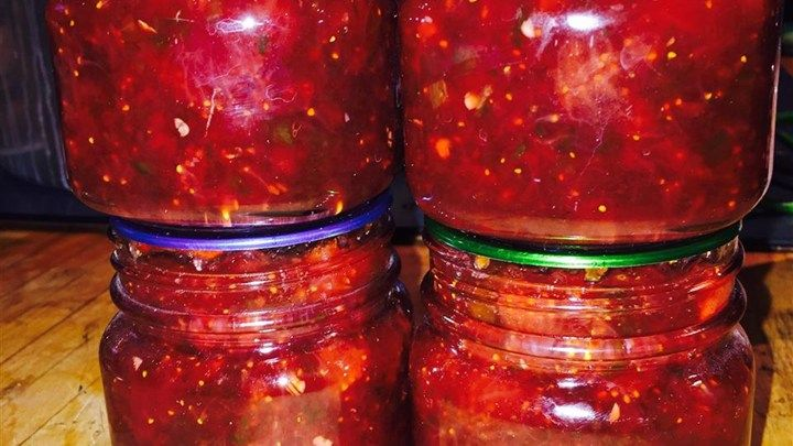 This is a favorite in our family at Christmas. The flavor of the sweet strawberries combined with the flavor of the peppers gives this jam a wonderful flavor dimension. This jam is not spicy, but can be made to be spicy by adding more peppers or a few habanero peppers.