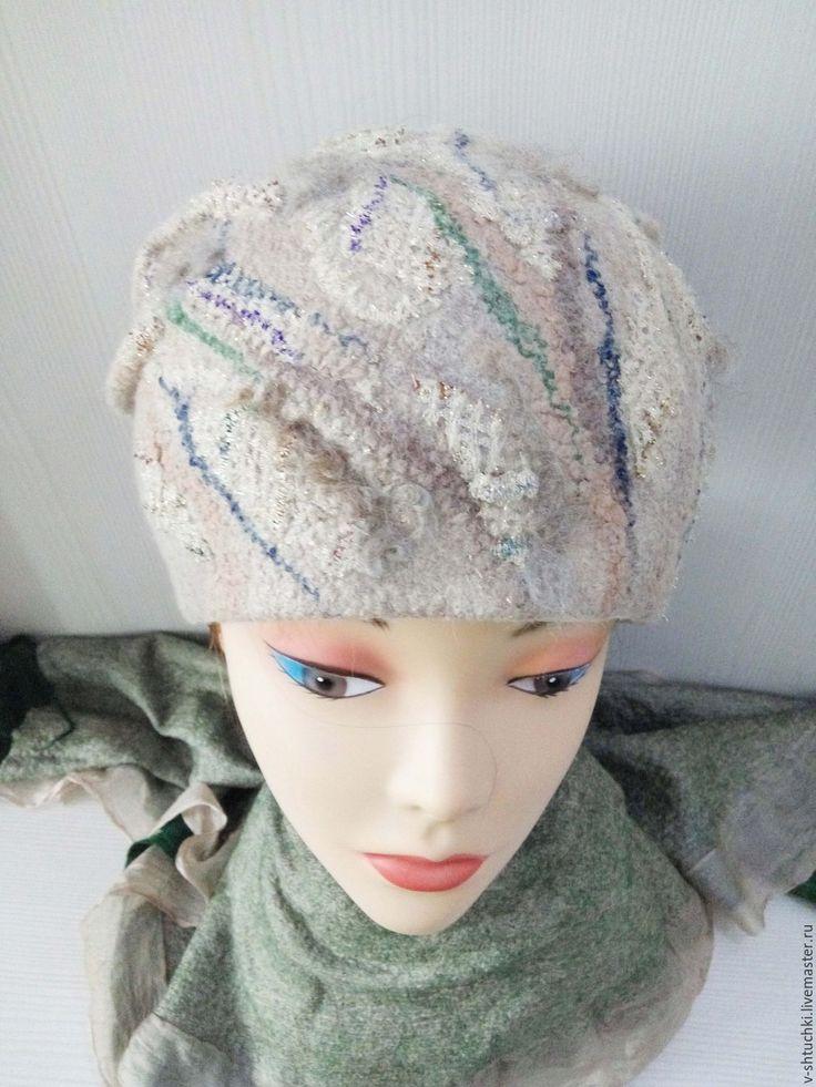 Купить Шапка валяная Light gray beige - абстрактный, шапка женская, шапочка женская