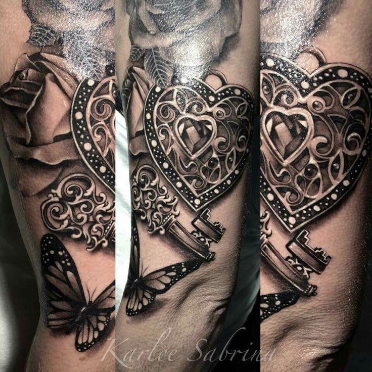 Taschenuhr herz tattoo  Die besten 25+ Herz schloss tattoo Ideen auf Pinterest ...
