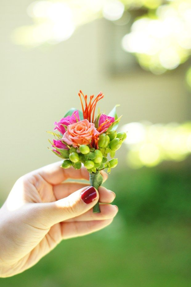 Pink Grooms Boutonniere
