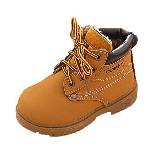 Coper Baby Infant Boy Girl Winter Martin Boot Warm Army Style Shoes (Yellow, 18-24M)