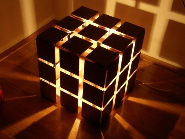 art object for media center - rub cubes and puzzle sculptures - stand lamp