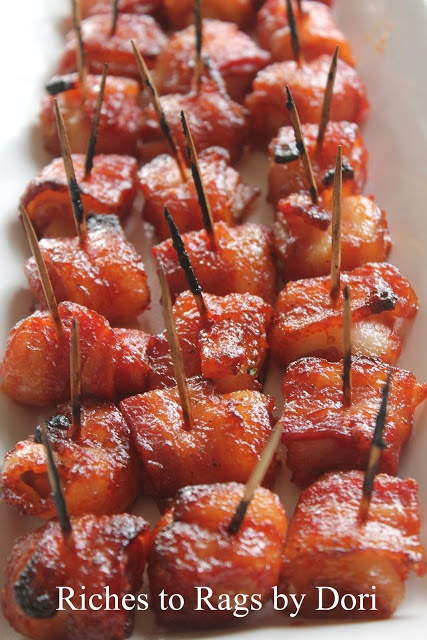 Bacon Wrapped Water Chestnuts. The sauce makes it the perfect Appetizer. Very easy to make and a crowd pleaser.