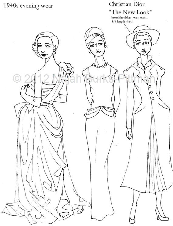 vintage dress coloring pages | Clever girl coloring pages | Vintage Clothing | Pinterest