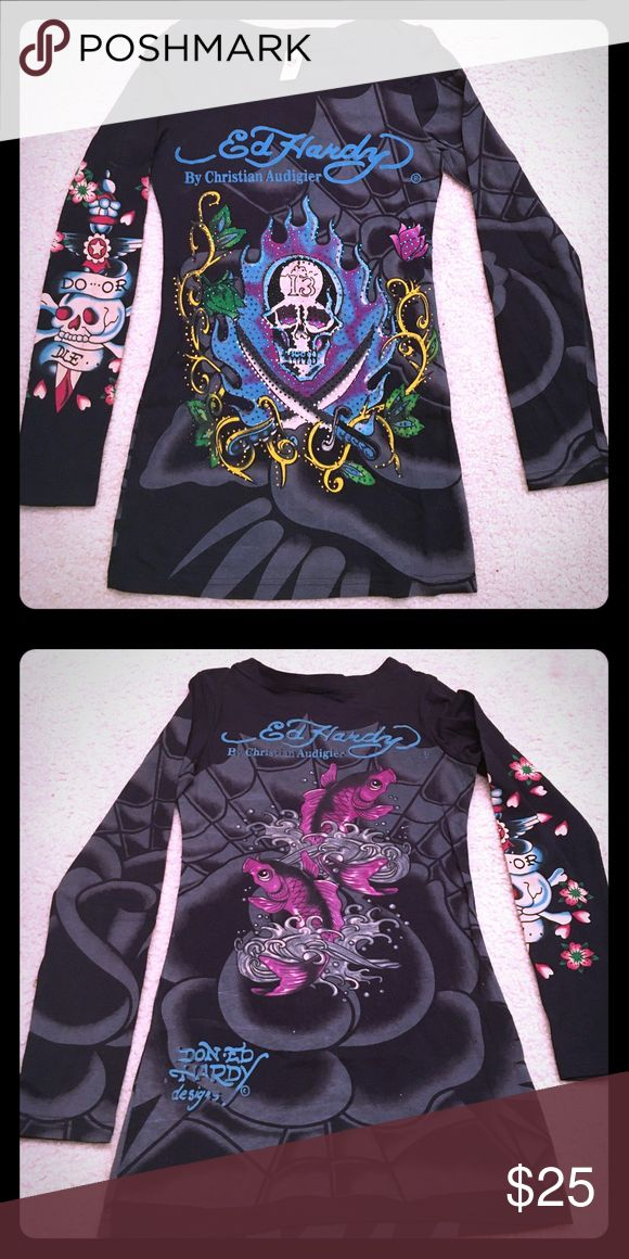Don Ed Hardy designs - shirt Don Ed Hardy by Christian Audigier shirt - small fit Christian Audigier Tops Tees - Long Sleeve
