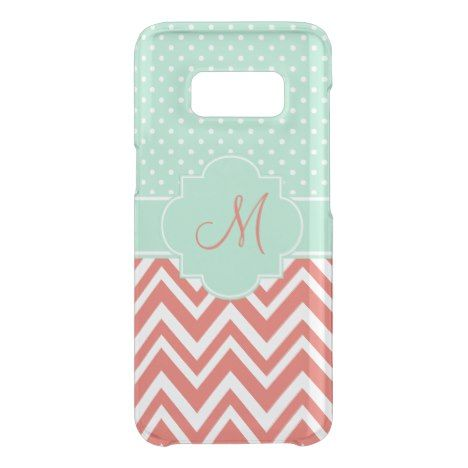 Monogram Coral Chevron with Mint Polka Dot Pattern Uncommon Samsung Galaxy S8 Case