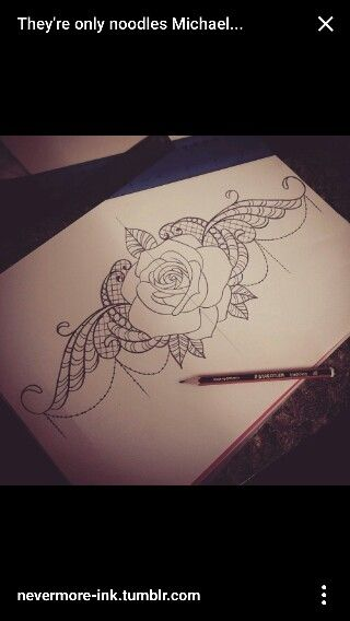 Rose sternum lace tattoo design, lower back, stomach or side
