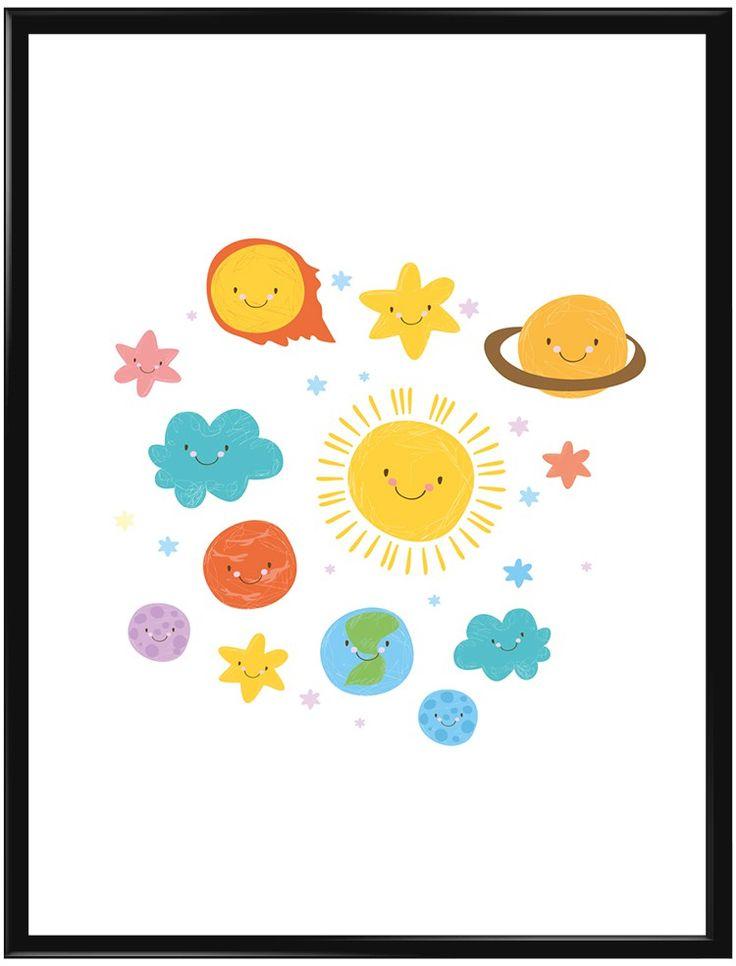 Poster med en lekfull illustration av solsystemet med olika planeter, stjärnor…
