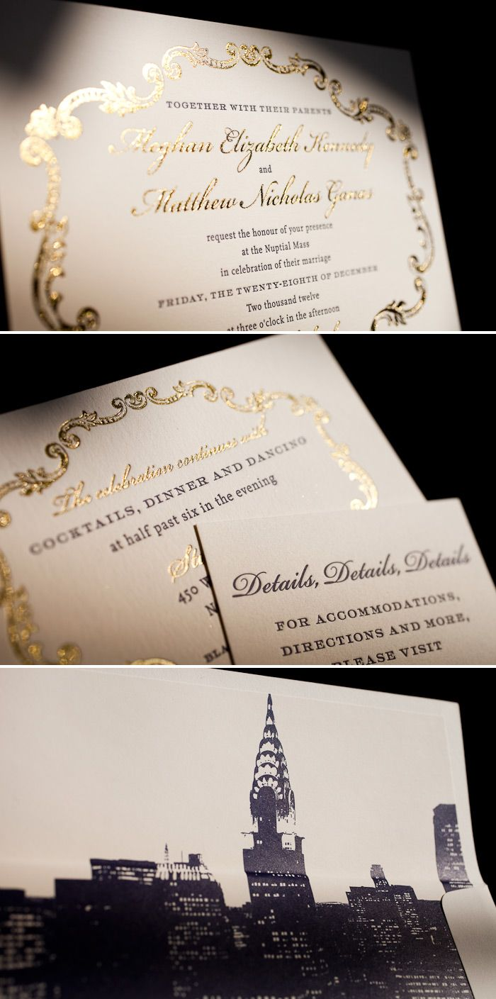 Formal foil combined with letterpress makes this a unique wedding invitation
