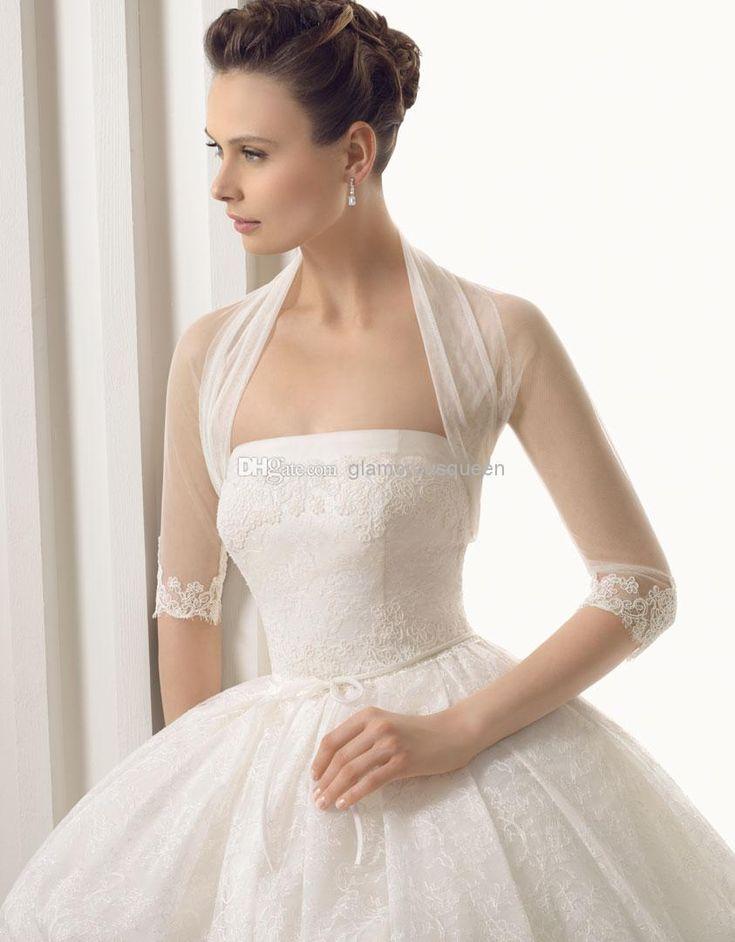 Wholesale Elegant High Neck Wedding Accessories Bridal Jacket Bolero Tulle Merterial Shawl Wraps Custom Made Lace Long Sleeve Cape White/Ivory Shrug, $8.37/Piece | DHgate Mobile
