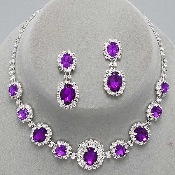 Fancy Amethyst Purple Clear Oval Stone Crystal Rhinestone Formal Evening Necklace Set Elegant Costume Jewelry