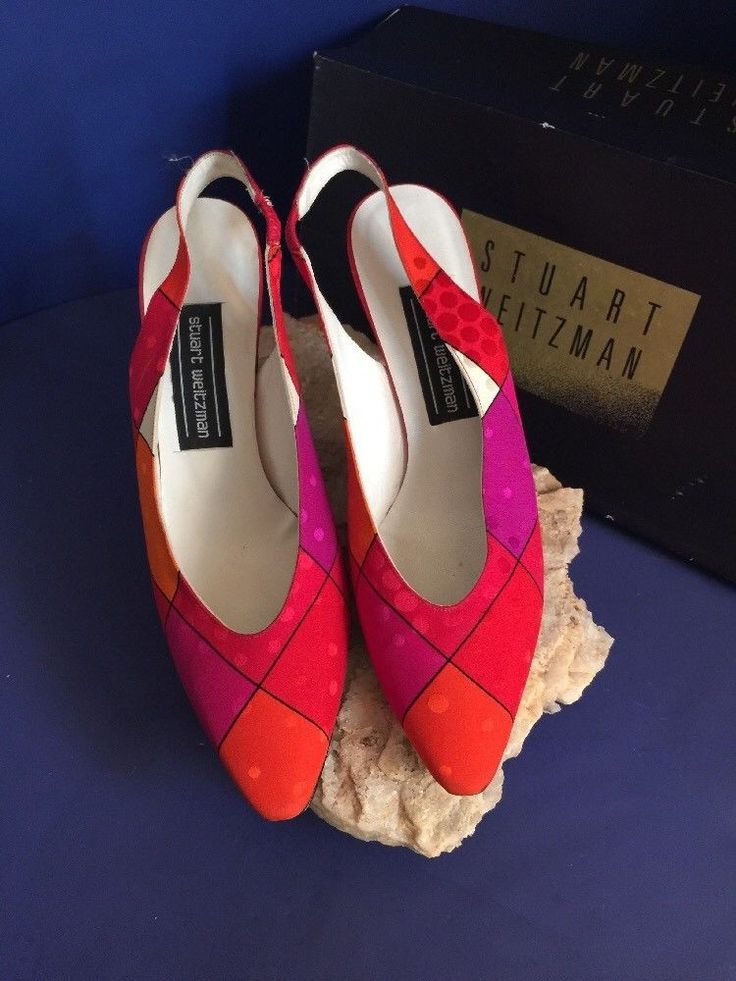 NWB Stuart WeitzmanClassic SlingBack Piped Red Cubic  Silk High Hells  7.5.  | eBay