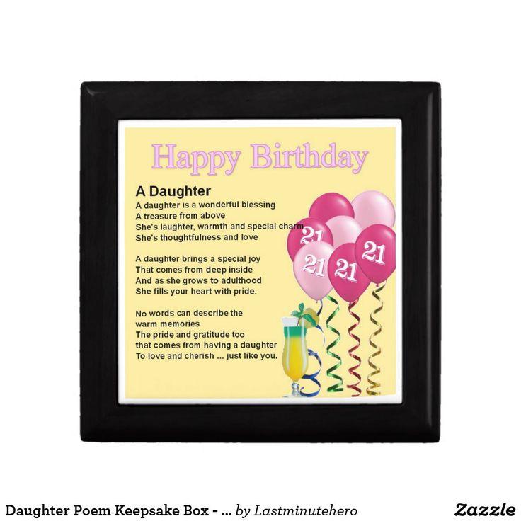 Daughter Poem Keepsake Box 21st Birthday Design Zazzle