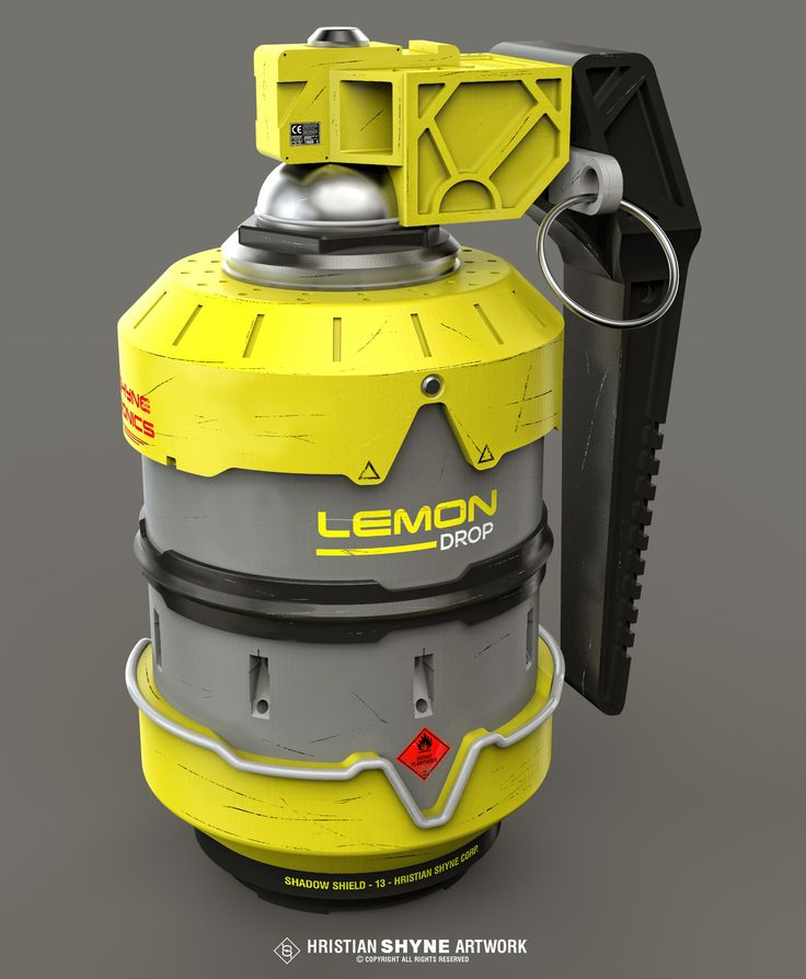Lemon drop grenade, Hristian Ivanov Shyne on ArtStation at https://www.artstation.com/artwork/RqONm