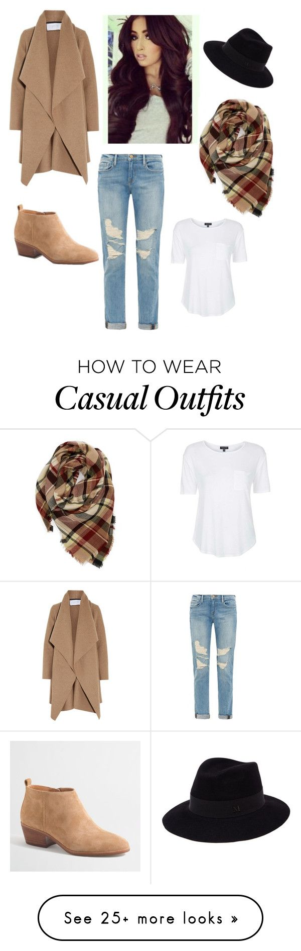 """ugraded casual"" by starr-tiffany on Polyvore featuring Frame Denim, Harris Wharf London, J.Crew, Maison Michel, Evelyn K and Topshop"