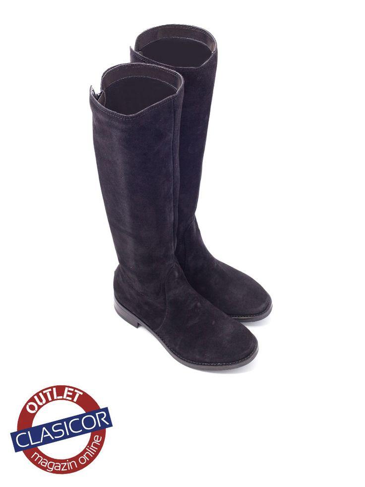 Cizme din piele intoarsa, dama, negru – 17040 | Pantofi piele online / outlet incaltaminte piele | Clasicor