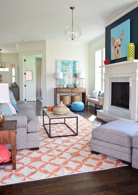 grey, navy, coral, white || The Heart of The (Show) Home | Young House Love