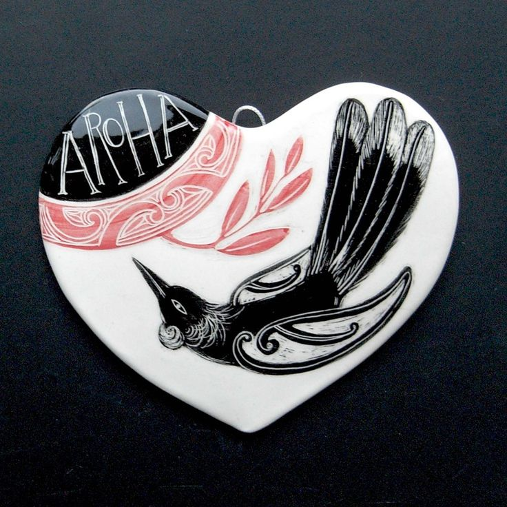 Ceramic Heart  - Aroha means Love in the Maori language