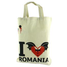 """Indispensabila oricarui cumparator, aceasta sacosa rezistenta din in aduce cu sine o particica din Romania.Sosita din inima Transilvaniei, unde legenda lui Dracula inca mai dainuie, aceasta sacosa este personalizata cu elemente imprimate in nuante de rosu aprins si negru, ce amintesc de mult-temutul """"vampir"""".(I love Romania bag, inspired by Dracula)"""