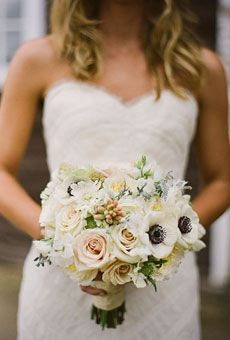 #wedding bouquet- love the anenomes peaking out