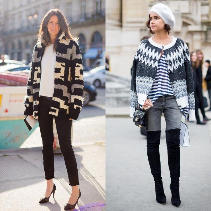 outfit-ideen-strickjacken-oversize-gemustert-schwarz-grau-weiss-jeans-mode