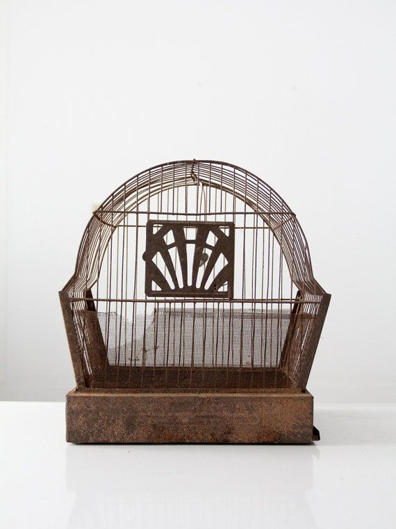 antique bird cage / rusted metal birdcage by 86home