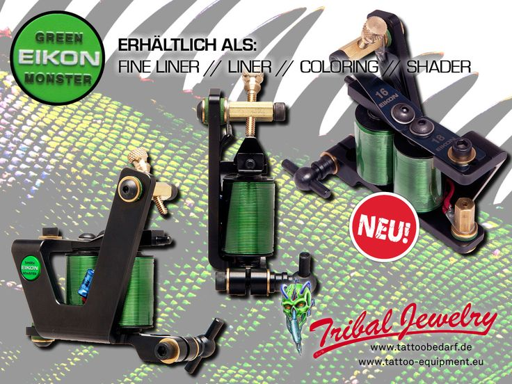 """NEW: Eikon's """"Green Monster"""" tattoomaschine - updated with many improvements! Available in 4 types: fine liner, liner, shader and coloring! #tattooequip #tattooequipmentselller #tattooequipment #tattoosupply #tattoosupport #tattoobedarf #tattoos #tribaljewelry #tribaljewelrysupply"""