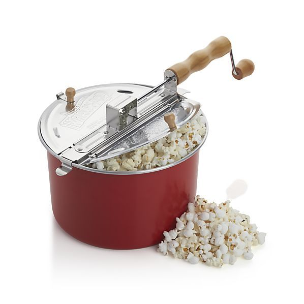 Pop up to six quarts of perfect popcorn with this easy-to-use red popcorn maker. Fill with your choice of popcorn then add as little as one teaspoon of oil. Heat on the stovetop and in less then three minutes you'll have lots of tasty popcorn. Four vents allow steam to escape so popcorn stays tender yet crispy. The patented stirring mechanism is designed like a commercial popper, preventing sticking and burning, and making sure each kernel is popped to perfection.