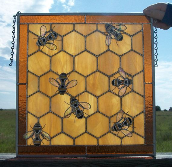 bee stained glass | Stained Glass Honey Bee Window Gift for by cityfreeglass on Etsy
