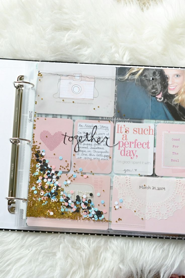 Laurel Lane: A Dazzling Project Life Title Page simple sticker on a plain ol' ordinary page protector that has been sewn after adding glitter and confetti-  great idea for washi tape