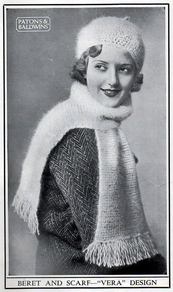 1930s Knitting Patterns : 1930s Vintage Knitting Patterns Hats, Berets & Scarves - Rare early Paton...