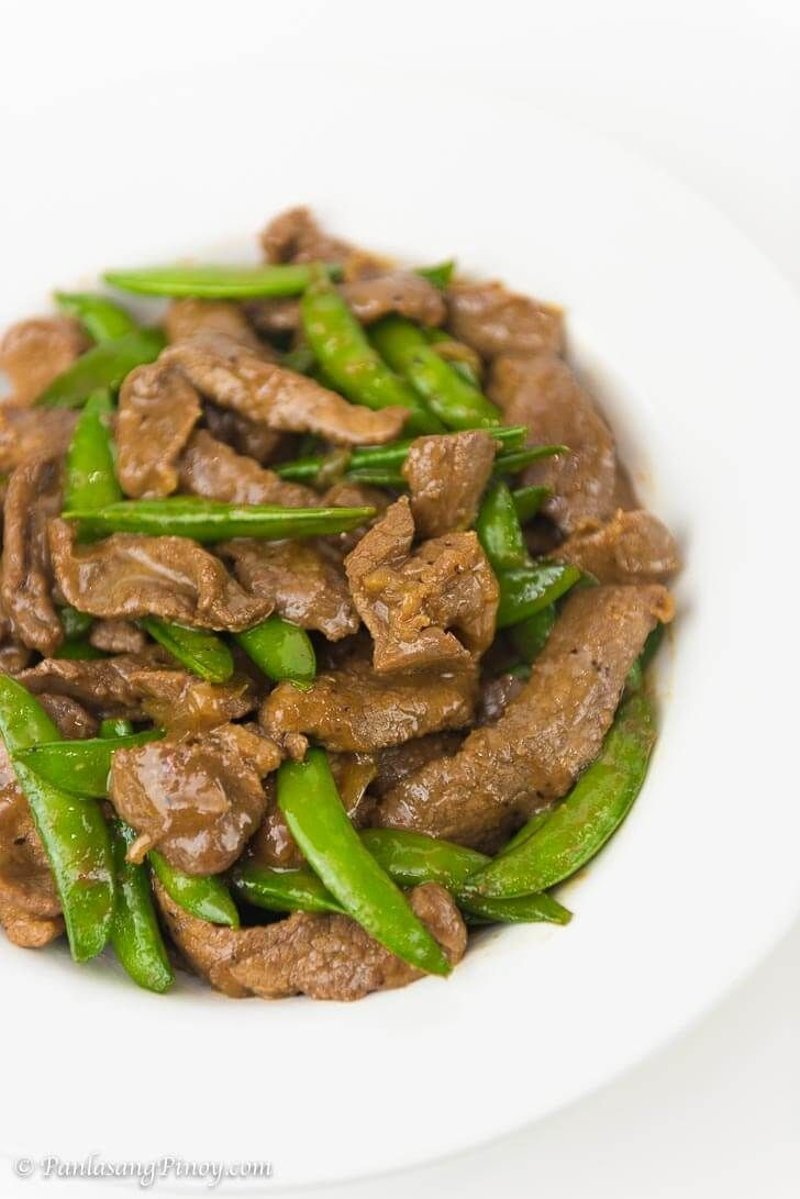 Stir Fried Beef With Oyster Sauce And Snap Peas Recipe Panlasang Pinoy Healthylunchrecipes Beef With Oyster Sauce Recipes Snap Peas Recipe