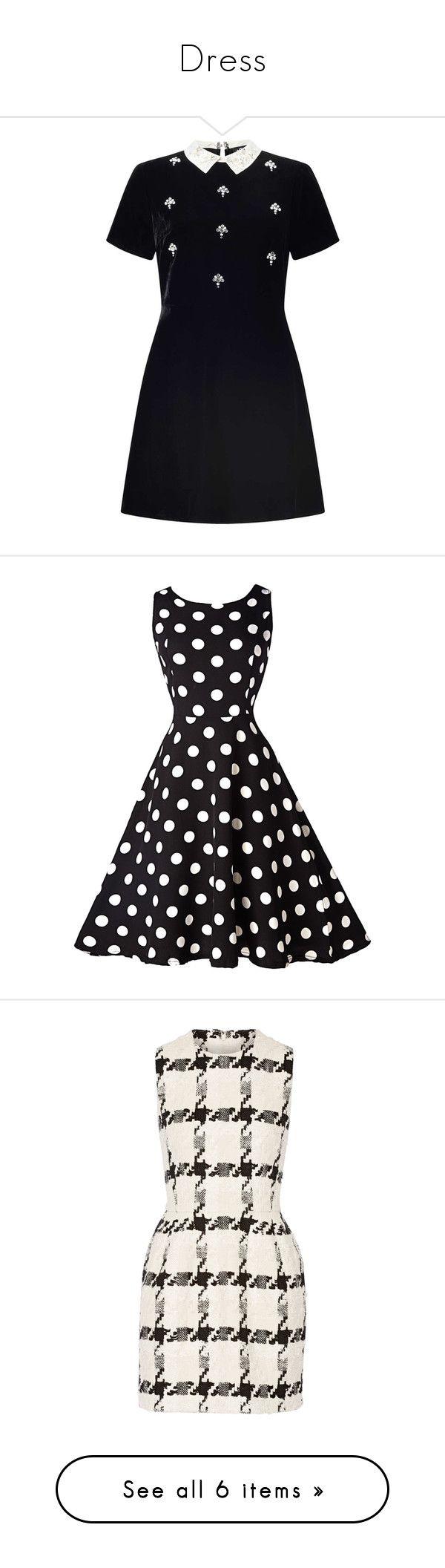 """Dress"" by venus-galaxy ❤ liked on Polyvore featuring dresses, vestidos, black, petite, petite skater dress, velvet dress, skater dress, miss selfridge dress, petite dresses and polka dot swing dress"