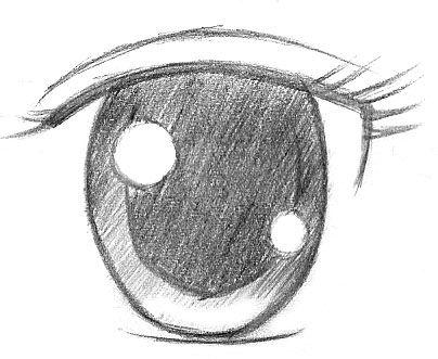 Como Dibujar Ojos estilo Manga - Brillos - paso 1 - Estilo 3