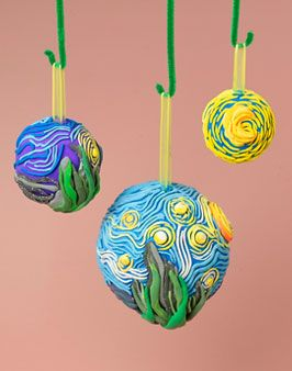Starry Night ornaments made with Crayola Model Magic.   Click on photo for the lesson plan.