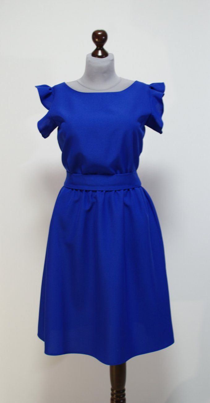 Летнее платье цвета электрик