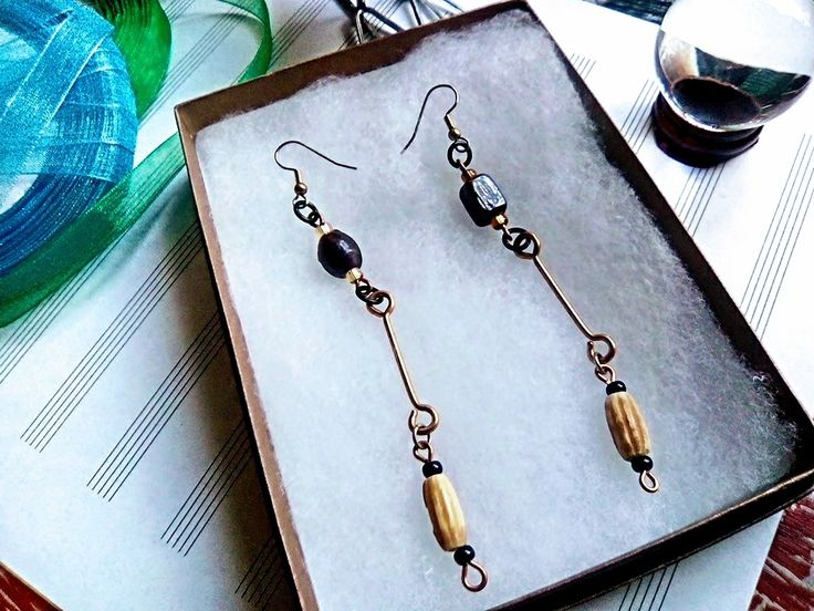 Indian Glass, Bone & Brass Barbell Earrings
