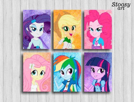 mi pequeño pony equestria girls impresiones juego de por Stoosyart
